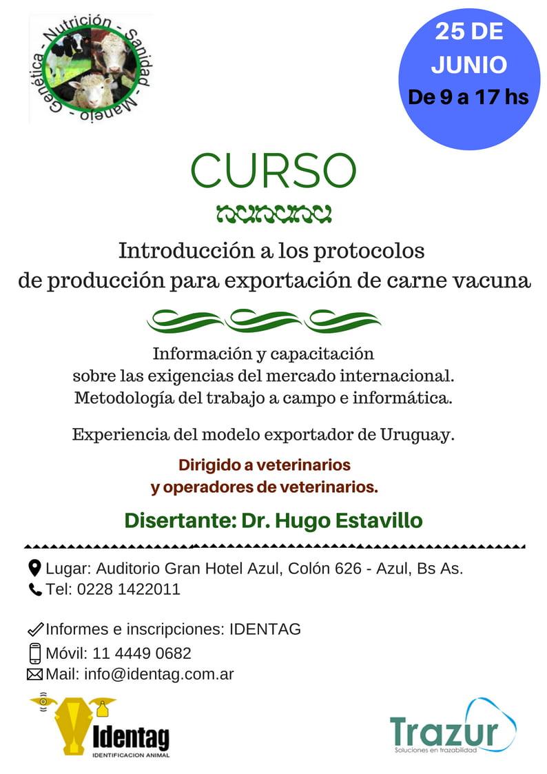 Curso: Introducción a los protocolos  de producción para exportación de carne vacuna